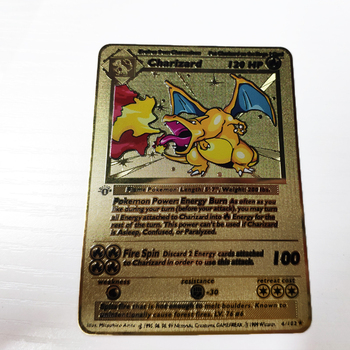 Shadowless Charizard Psa 7 Pokemon Card Misprint Error Card Stainless Steel Metal 24K Gold Material French trading card