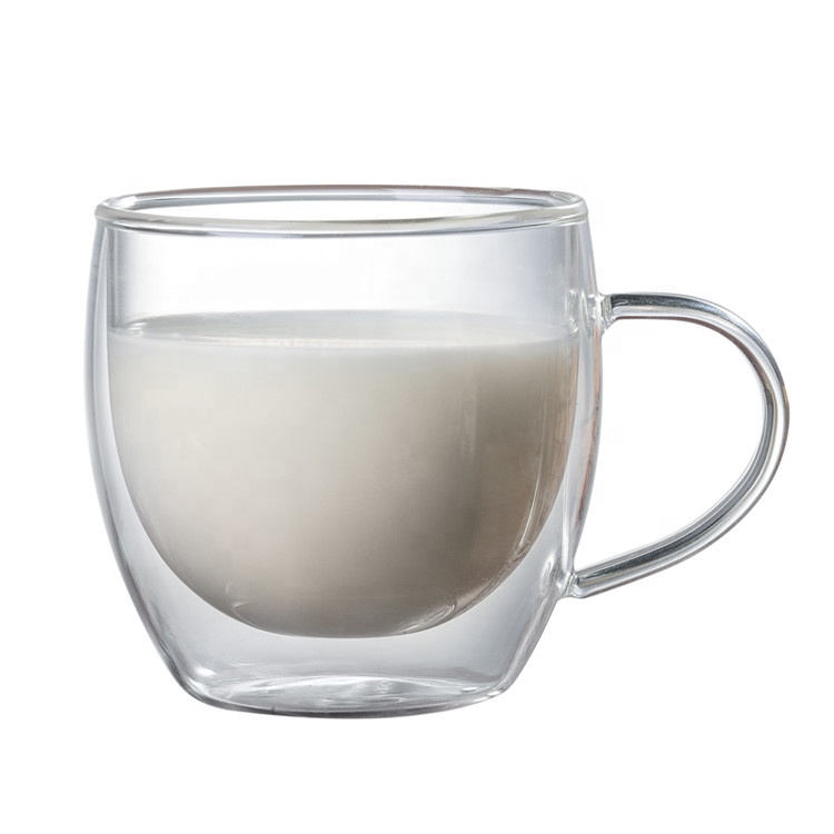 Hot Sale 250ml Small Round Heat Resisting Handmade Double Glass Cup Buy Wall Recycled Cups Coffee Mug Borosilicate Product