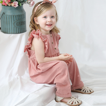 Toddler Summer Overalls Jumpsuit Ruffled sleeve Linen Baby Girls Romper Baby clothes