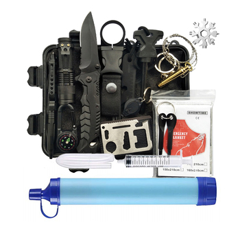 14 in 1 Outdoor Survival Kit Camping Set With Water Filter Straw, Emergency Survival Kit (ISO approved)