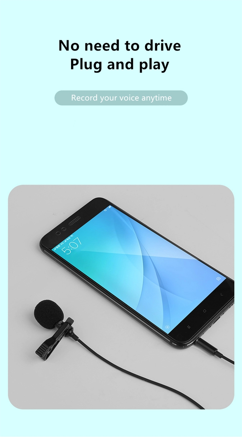 high quality mini clip-on lapel condenser microphone mic for computer/mobile phone/ipad