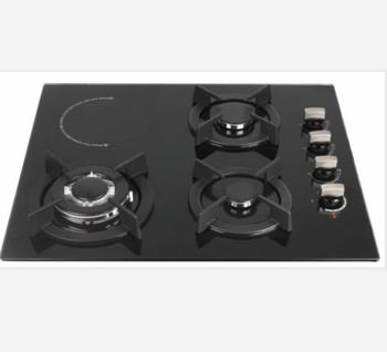 3 burners for LPG gas and 1 burner for Induction Built in type 8mm tempered glass with sabafu burner cap gas hob and cooktops