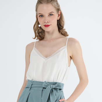 Women's Summer Casual Sleeveless White Chiffon Elegant Crop Tank Top Ladies
