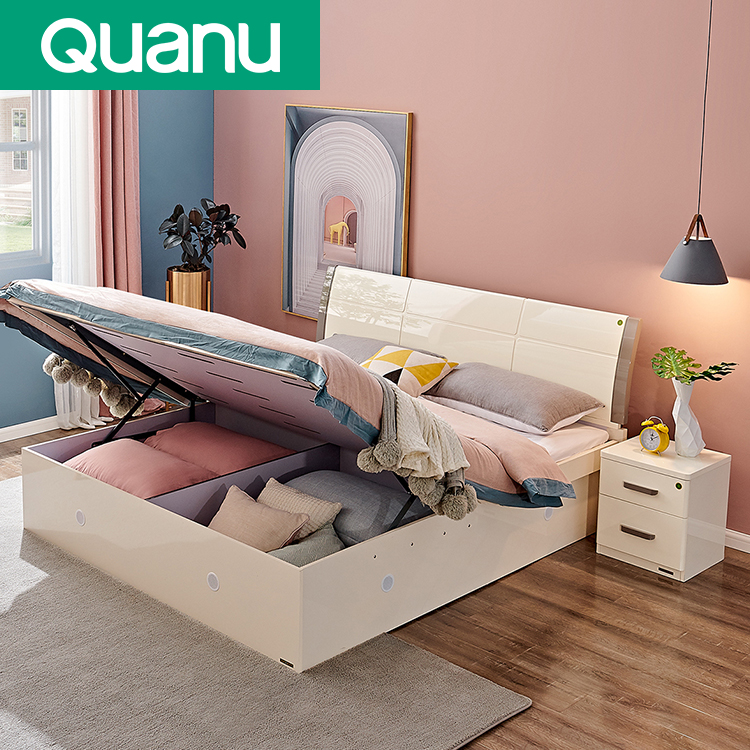 122702 Nordic Multifunction Bedroom Furniture Modern Beds With Storage Drawers Buy Bed Product On Alibaba Com