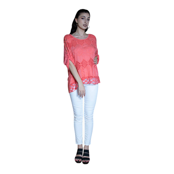 Top Selling Lady Lace Wholesale Cheap Price Crochet Blouse Top Coral Peach Lace Blouse Italian Vintage Puff Sleeve Top