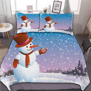 Cartoon Happy Snowman Looking at The Snowflake ICY Winter Scenery Evergreen Woods, with Zipper Closure&Corner Ties, 3pc