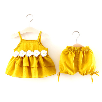 summer fashion animal Chrysanthemum girls strapped skirt baby clothes wholesale price toddler cute baby clothes set girl