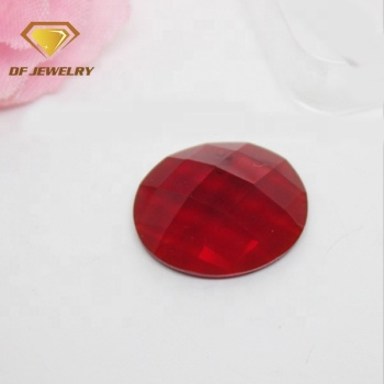 China factory customized red glass gemstone faceted flat back oval glass gems