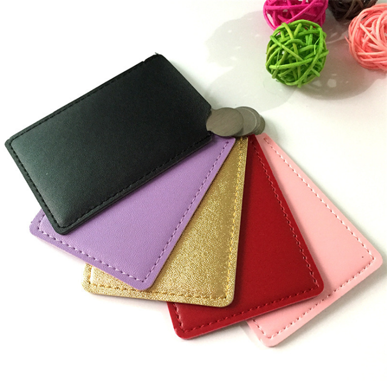 Wholesales Mini Makeup Hand Held Cosmetic Stainless Steel Leather Pocket Mirror