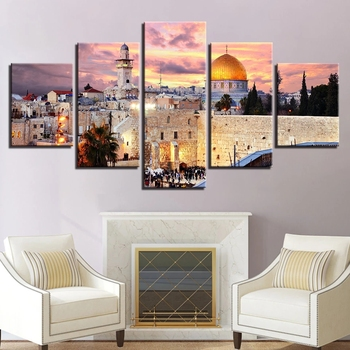 Home Decor High Quality 5 Panel Muslim Modern Islam Picture Decorating Islamic Building