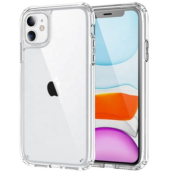 2021 hybrid slim tpu acrylic hard shockproof clear transparent cell phone case for iphone 11 pro max
