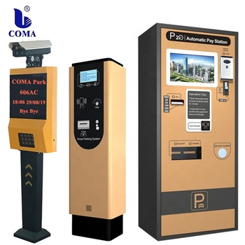 Auto parking system ticket dispenser and LPR/ANPR camera with barrier gate
