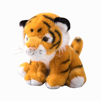 Factory price plush tiger looks like real yellow body stuffed animal