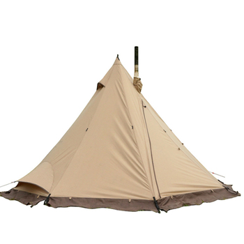 Outdoor insulated tent camping leisure tent polyester cotton rainproof and sunshade tepee stove chimney tent for sale