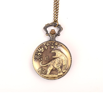 China Manufacturer Custom Pocket Watch with Chain Belt Antique Design Pocket Watch Fobs With Dragon