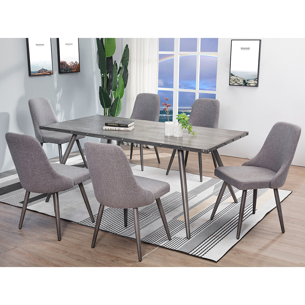9pcs Nordic Home Large Square Antique Silver Wooden 9 Chairs ...