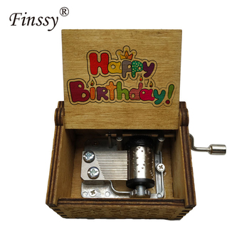 New Hot Sale Carved Wooden Hand Crank Music Box Happy Birthday Song Gift Custom Printed Pattern