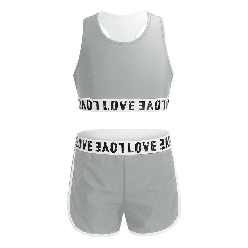 Kid Girls Gymnastics Sport Dance Outfit Tank Top+Booty Shorts Set Tracksuit 2Pcs