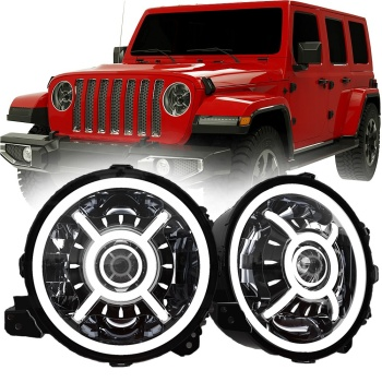 "for jeep jl headlight auto lighting system 9 inch round led headlights with halo DRL for jeep wrangler JL 2018+ 9"" led headlight"