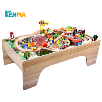 118PCS Table Toy Tracks Thomas Wooden Train Track Toys Wooden Railway Table Tracks