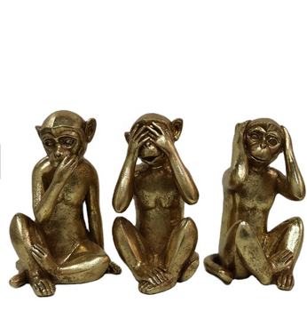 Handmade funny resin no hear speak see golden monkey ornaments nature design sculpture home decor resin crafts