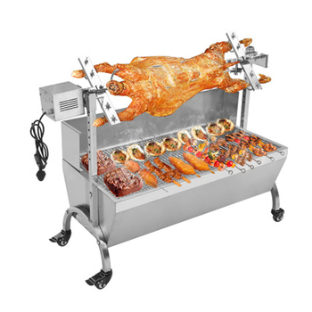 Spit rotisserie stainless steel auto rotating lamb bbq grills automatic roasting kebab skewers height adjustable pig bbq grill