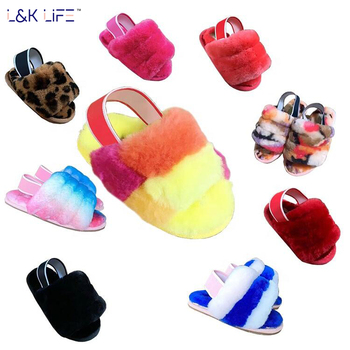 Wholesale girls fur slides real fur sandals sheepskin children's casual shoes wool slippers for kids