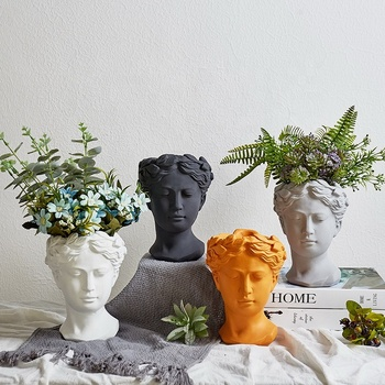 Home & Garden Venus Head shape Decorative indoor Cement Made Succulent Plant flower pots & planters