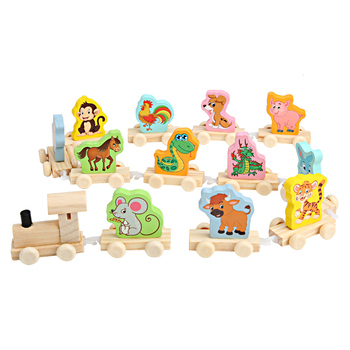 Wholesale cute animal rabbit/tiger children Digital animal wooden train Digital Customized Animal Cognition Fun little train