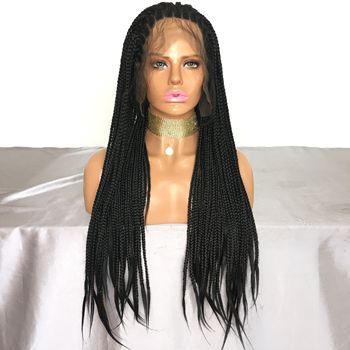 Ready to Ship 24 Inch Cheap Wig Braiding Synthetic Lace Front Wigs For Black Women