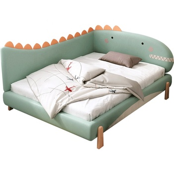 Synthetic Leather Cartoon Children Beds Modern Solid Wood Kids Bed for Kids Bedroom Furniture