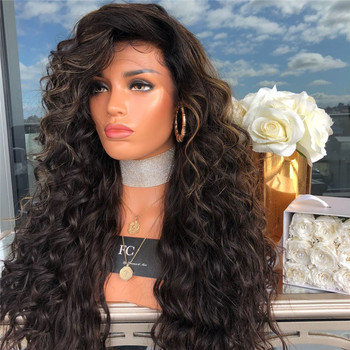 Partschoice Hot Selling Brazilian Virgin Synthetic Hair Deep Curly No Lace Front Wig With Baby Hair