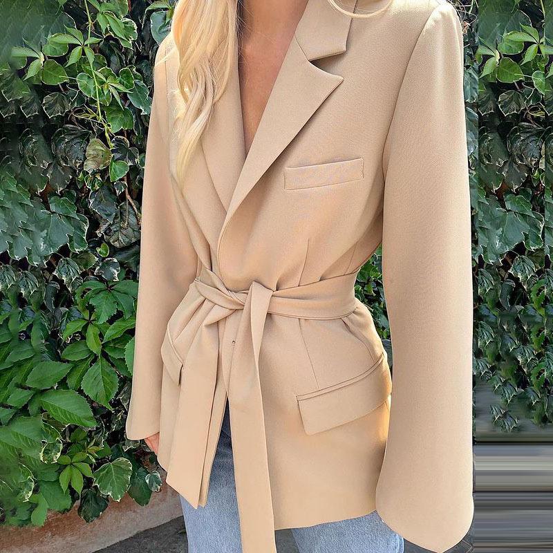 Women/'s Long Lace Up Solid Lapel Collar Long Sleeve Coat Jacket Outwear Belt NEW