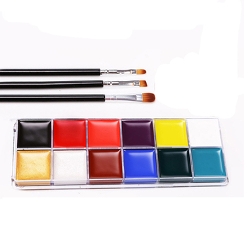 Factory Direct 12 Colors FAD Plastic Box Face Paint Water Based Sales Face Paint with 3 Brushes