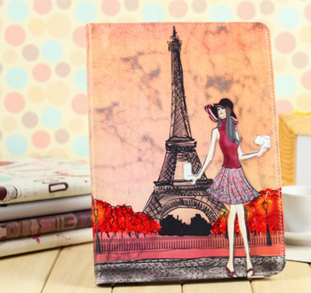 Hotsell for ipad234 leather tablet case mini two-fold stand ultra-thin for ipad mini4 paris tower girl for ipad protective cover