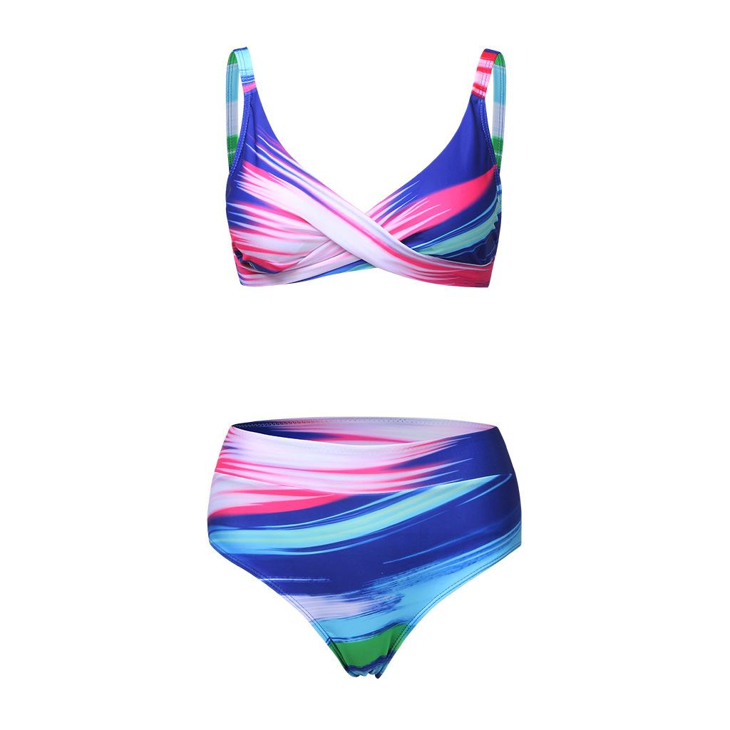 Oversize 3XL-8XL High-taille Retro-print Cross-stück Badeanzug für Damen