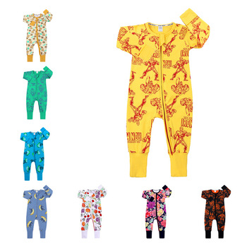 Wholesale Baby boy casual girls' rompers one piece100% cotton cute baby jumpsuit zipper onesie long sleeve newborn baby clothes