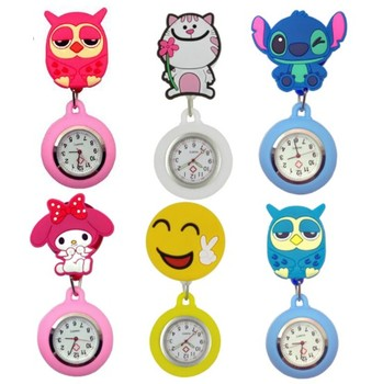 New fashion Cute 3D Cartoon Character Animal Stretchable Luminous doctor medical FOB pocket clip watches