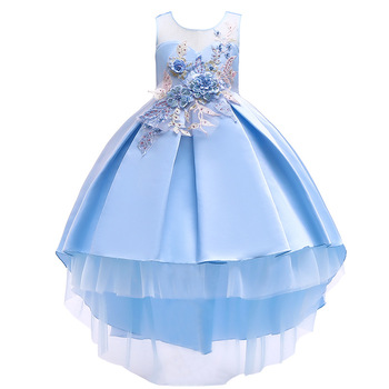 New Kids Dress Princess Flower Frocks Designs Embroidery long cut lace Wedding Birthday Ball Gown Baby Girl Dress Party