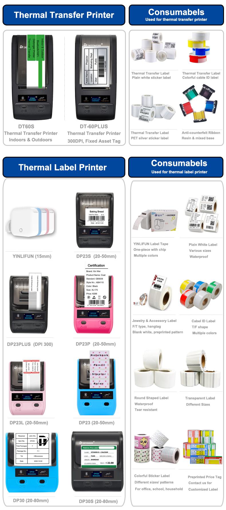 Detonger etiqueta impressão de preço, etiqueta para código de barras qr código dp23 série impressora térmica