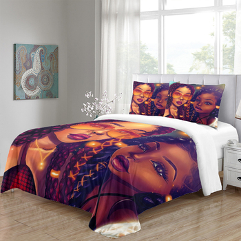Personalized 3D Print Black Girl Magic Flat Sheet And Fitted Sheet Custom Print Quilt Bedding Sets Wholesale
