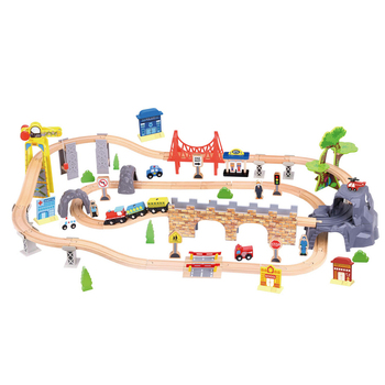 Hot Sale New Arrival Wooden Train Set-90pcs