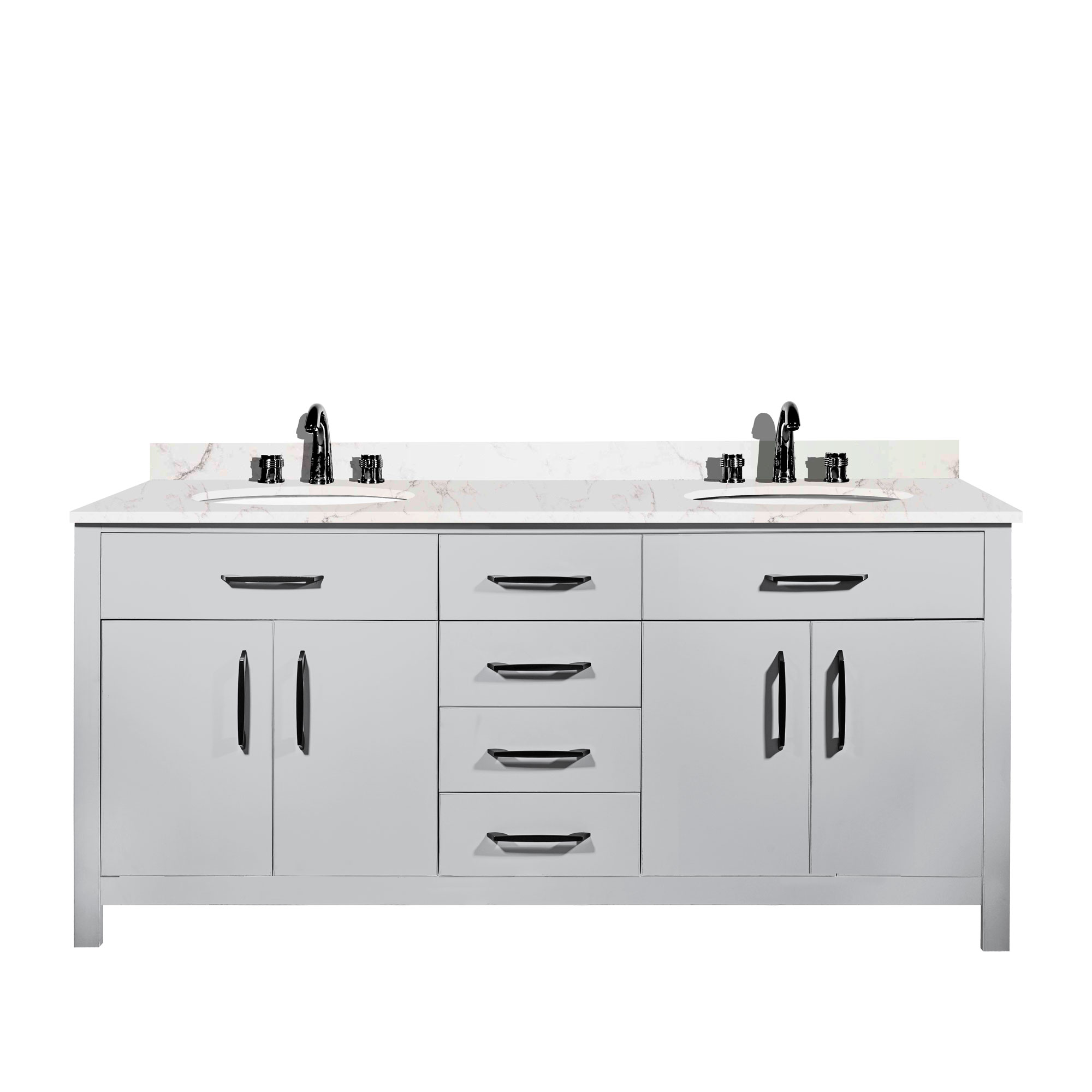 20 Inches Silver Gray Color Wood Decor Double Sink Vanity ...
