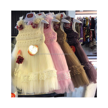 kids new fashion frilly body net frock with hairband new fashion design fancy party wear baby dress in 5 different colors
