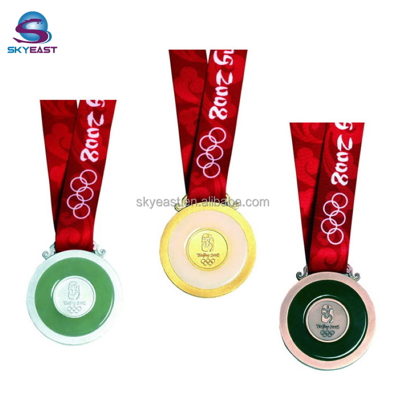 Promotional Antique Raised Logo Metal Sport Medals With Ribbon