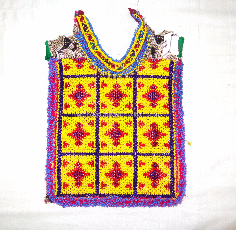 Vintage Tribal Gypsy Afghani Patch Beaded Kuchi Dress Yoke Neck-Banjara Bohemian Hippie Boho Beaded Kuchi Patch Afghani Yoke Neck Patch
