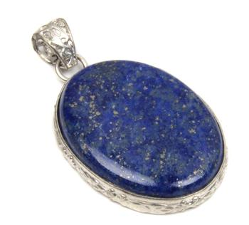 sparkling lapis lazuli gemstone shining silver plated fashion pendant