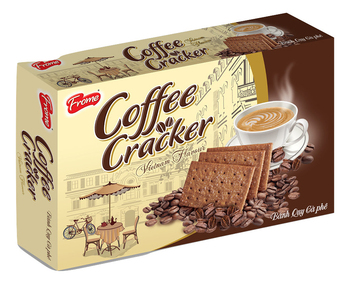 Premium Vietnam Coffee Flavored Cracker Biscuits - 380g Box