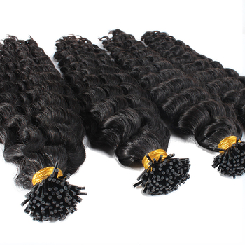 Whole Sale deep wave i Tip Hair Extensions russian micro links itip hair extensions