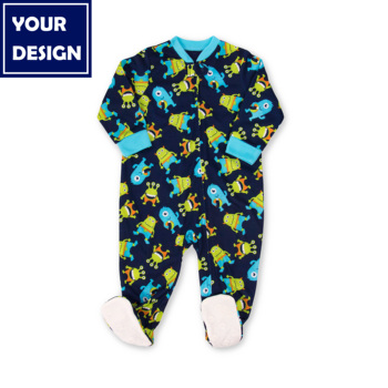 JOYUAN boy one piece baby rompers custom robot alien pajamas kids clothes newborn navy flame resistant hot selling
